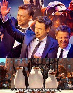 Just smile and wave boys.Smile and wave Avengers / Tom Hiddleston / Robert Downey Jr / Jeremy Renner Avengers Humor, Funny Marvel Memes, The Avengers, Marvel Jokes, Avengers 2012, Avengers Characters, Fictional Characters, Memes Humor, Dc Memes