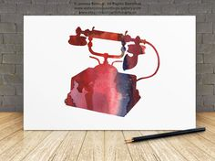 Old Retro Phone Vintage Rotary Telephone Pink Red by Silhouetown  #oldphone #watercolor #artwork