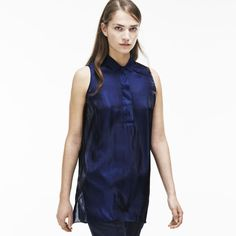 Fashion show sleeveless top in iridescent satin