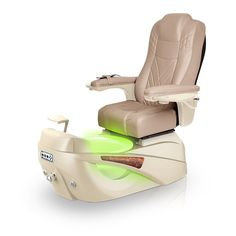 Luminous pedi-spa shown in Acorn Ultraleather cushion, Champagne base, Aurora LED Color-Changing bowl (shown in green)