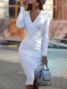 Mid-Calf V-Neck Long Sleeve Sheath Regular Dress Material:Polyester Silhouette:Sheath Dress Length:Mid-Calf Sleeve Length:Long Sleeve Sleeve. Long Tight Dresses, Casual Dresses, Women's Dresses, Elegant Dresses, Pretty Dresses, Romantic Dresses, Summer Dresses, Formal Dresses, Dress Long