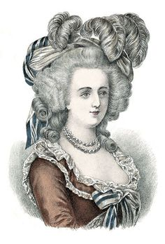 """Portrait of Marie Antoinette with a less elaborately curled 'do - for the day. From 'Album de Coiffure Historiques', E.Nissy. © Fiell Image Archive, 2011  Gravity-defying hairstyles fell out of favour once Marie Antoinette gave birth to her son and her hair fell out - this sparked a new trend for """"Coiffure à l'Enfant"""" - a simpler, more deconstructed style. As Charlotte Fiell notes in 'Hairstyles: Ancient to Present', """"The adoption of this simpler st"""