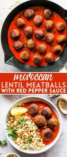 Moroccan Lentil Meatballs with Roasted Red Pepper Sauce is made with simple ingredients and comes together in just 30 minutes. These veggie meatballs are kid-friendly and great for meal prep lunch or easy weeknight dinners. #lentilmeatballs #veggiemeatballs #vegetarianmeatballs #beanballs #mealprepvegetarian #roastedredpeppersauce