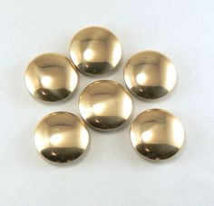 6 1 1/8 Brass Buttons Gold Metal Shank Buttons