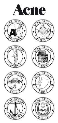 Acne symbols for the studios based in different cities.