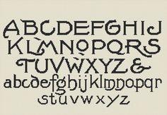 Vintage Alphabet Cross Stitch Pattern, Instant Download Counted Cross Stitch Chart, PDF Digital Download