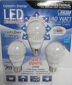 FEIT ELECTRIC LED 40 WATT REPLACEMENT BULBS OMNI DIRECTIONL DIMMABLE 3 PACK B19 #FeitElectric