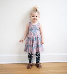 Hand Printed 'TIger Paw' Twilring Dress in by thiefandbanditkids, $52.00