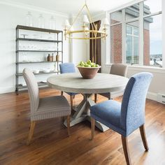 Round Gray Trestle Dining Table with Mismatched Dining Chairs - Transitional - Dining Room Mismatched Dining Chairs, Trestle Dining Tables, Round Dining Table, Light Brown Bedrooms, Oar Decor, Gray And White Kitchen, Room Shelves, Upholstered Chairs, Home Interior Design