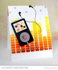 Keep on Rockin', MP3 Player Die-namics, Equalizer Stencil - Cindy Lawrence #mftstamps