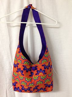 Handmade Cotton Hobo / Sling Bag / Purse Orange on Etsy for $19.95