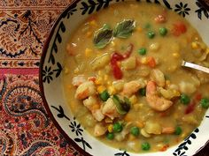 curried potato shrimp chowder from Posie Gets Cozy  Post also has the best chocolate cake in the world recipe