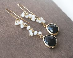 Black EarringsWhite EarringsGold EarringsLong by lilabelledesign