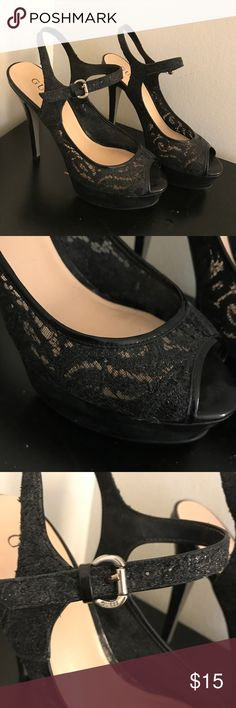 Lace / metallic platform heels - from GUESS Bought at the GUESS store (not outlet). Wore it often. It's a beautiful pair of heels but can't wear them out anymore. Very comfortable to me. Size 6. Normal width. Scuffs on the platform but I'm sure that can be cleaned up either by DIY or professionally. The lace design is awesome! Hard to part but have to... Guess Shoes Heels