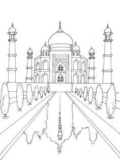 Taj Mahal Coloring Page Elegant Taj Mahal Drawing at Getdrawings Colour Architecture, Architecture Sketchbook, Pencil Art, Pencil Drawings, Art Drawings, Taj Mahal Dibujo, Taj Mahal Drawing, High School Art, Colouring Pages