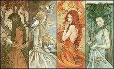 4 Elemental Goddesses: Earth, Air, Fire, Water