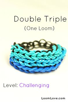 How to make a Double Triple Loom Bracelet - Rainbow Loom video tutorial Rainbow Loom Tutorials, Rainbow Loom Patterns, Rainbow Loom Creations, Rainbow Loom Bands, Rainbow Loom Bracelets, Loom Band Bracelets, Rubber Band Bracelet, Macrame Bracelets, Bracelet Crafts
