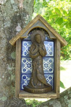Wow!  Handmade Cedar and Tile Niche with Statue by InTheCompanyOfSaints, $110.00 Marian Garden, Pine Wood Flooring, Painted Brick Walls, Prayer Garden, Home Altar, Architectural Antiques, Chapelle, St Francis, Garden Statues