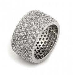Bling Jewelry Sterling Silver Pave CZ Wide Band Cocktail Ring Bling Jewelry. $104.99. Rhodium plated .925 sterling silver. 9 Rows of Pave Set Cubic Zirconias. Band width is 14 mm. Gorgeous Wide Band Cocktail Ring. Weighs about 10 grams