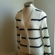 LOFT....NWOT....GORGEOUS STRIPES. ..SWEATER.. ....EXCELLENT CONDITION. ...NWOT... ....BRAND NEW ....NO FLAWS ....GORGEOUS  ....true to its color  ....TAG XS....FITS SIZE SMALL AS WELL ....2 pic up close ....stripe design  ....buttons on front ....MTRL...62%acrylic 38%nylon.... ....better in person  ....LOWEST...final price LOFT Sweaters Cardigans