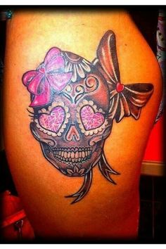 I want a tattoo like this but pink, smaller and maybe no flowers for my dio de los muertos trip