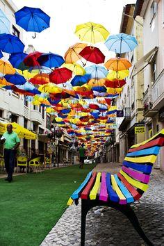 Colourful street in Agueda, Portugal Graffiti, Parasols, Umbrellas, Portugal, Expositions, Outdoor Art, Outdoor Lounge, Community Art, Public Art