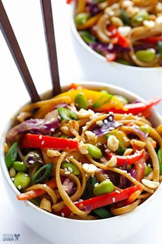 This rainbow peanut noodles recipe is made with whole-wheat pasta, tons of fresh veggies, and a peanut sauce that will knock your socks off! Vegetarian Recipes, Cooking Recipes, Healthy Recipes, Healthy Meal Prep, Healthy Eating, Peanut Noodles, Linguine, Noodle Recipes, Pasta Dishes