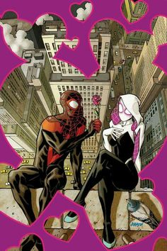 Ultimate Spider-Man and Spider-Gwen Marvel Comics, Comics Anime, Marvel Art, Marvel Heroes, Amazing Spiderman, All Spiderman, Ultimate Spider Man, Miles Morales, Gwen Stacy