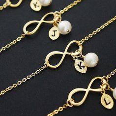 Infinity Bracelet with Fresh Water Pearls - Earrings Nation