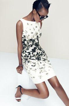 Maggy London Print Bateau Neck Cotton Sheath Dress (Regular & Petite)   Nordstrom