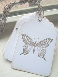Botanical Butterfly Wedding Wish Gift Tags by CharonelDesigns, $4.95