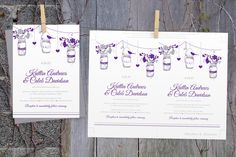 Rustic Wedding Invitation Template - Download Instantly - EDITABLE TEXT - Vintage Mason Jar (Violet & Silver)  - Microsoft® Word Format by DiyWeddingTemplates on Etsy https://www.etsy.com/listing/225829093/rustic-wedding-invitation-template