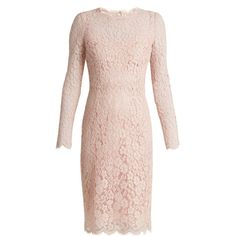 Dolce & Gabbana Long-sleeved Cordonetto-lace dress (148.145 RUB) ❤ liked on Polyvore featuring dresses, light pink, long sleeve dress, pink long sleeve dress, long sleeve lace dress, pink flower dress and scalloped lace dress