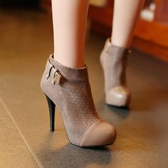 Soft PU Leather Round Toe Thin Heel Ankle Boots - 4 Colors