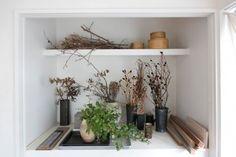 押し入れだったところを棚に改造。ペリシカリアやヤシャブシなどの、枯れ枝の風合いが美しい。