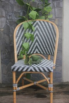 Black and white rattan French bistro chair by TuttiAbode on Etsy