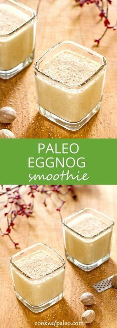 Eggnog protein shake - an easy paleo eggnog smoothie perfect for breakfast or a quick snack. Gluten-free, dairy-free, and refined sugar-free. via @cookeatpaleo