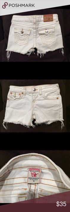 "Girls size 8 True Religion cut-off shorts Kids pair of True Religion ""Dolly Cut-Off"" shorts in excellent condition. White. Size 8. True Religion Bottoms Shorts"