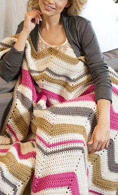 FREE Crochet Pattern from @joannstores Rippled Flashdance Throw | Chevron Throw Blanket | Crochet Blanket ༺✿ƬⱤღ  https://www.pinterest.com/teretegui/✿༻