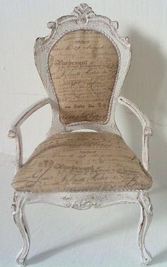 A delightful shabby chair made by Mia Rohlin