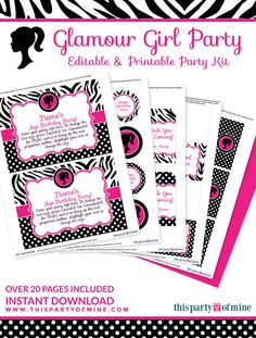 Glamour Girl Birthday Party Printable Package by thispartyofmine
