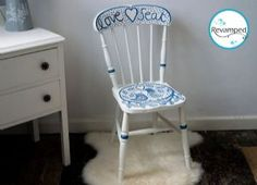 Hand painted vintage wooden chair with love birds design
