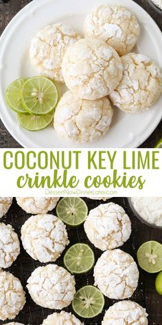 Coconut Key Lime Crinkle Cookies are puffy, soft, and chewy with a hint of tangy lime and sweet coconut. An easy spring or summer dessert with a tropical flair. Lime Cookie Recipes, Lime Recipes, Cookie Flavors, Cookie Desserts, Sweet Recipes, Baking Recipes, Key Lime Cookies, Lemon Crinkle Cookies, Baby Cookies