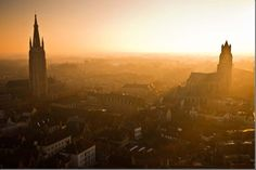 """Sunset Over Bruges"" - Taken at sunset on top of the Belfort the citys gothic cathedral spires."