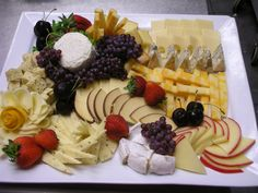 Pretty cheese platter with simple varieties & fruit❣ delivancouver.com