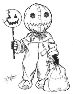halloween drawings Day of Monster Month 2014 - Sam Scary Drawings, Dark Art Drawings, Tattoo Design Drawings, Drawing Sketches, Cute Halloween Drawings, Tattoo Designs, Desenhos Halloween, Halloween Tags, Halloween Stories