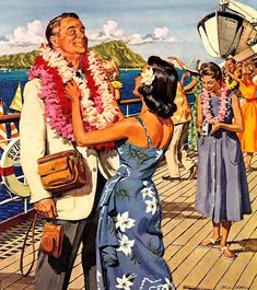 """""""Whenever you're watching a hula girl dance. Be careful, you're tempting romance. Don't keep your eyes on her hips Her naughty hula hips. Vintage Tiki, Vintage Ads, Vintage Images, Vintage Prints, Retro Images, Vintage Advertisements, Etsy Vintage, Vintage Items, Hawaiian Girls"""