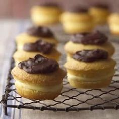 Individual Boston Cream Pies, with a pudding mixture center and chocolate frosting, make serving so easy.