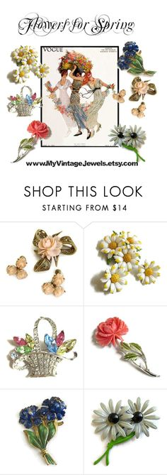 """Flowers for Spring"" by myvintagejewels ❤ liked on Polyvore featuring vintage"