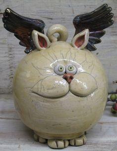 Angel Cat Piggy Bank Hand made Ceramic Raku by Heidishoppe